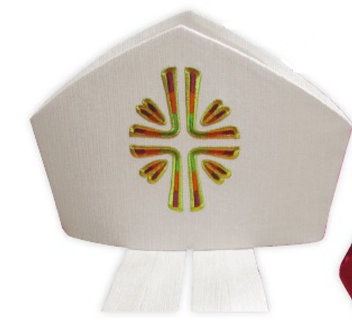 #751 Embroidered Contemporary Cross Mitre | Wool/Gold Thread