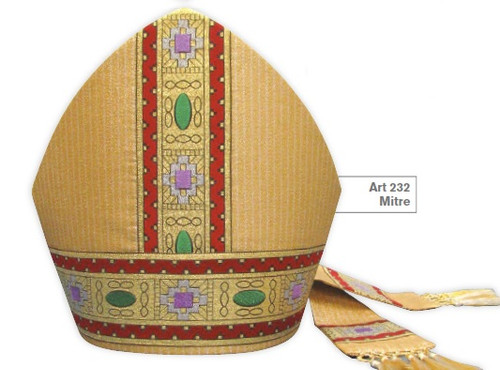 #232 Giotto Gold Banded Mitre | Wool/Gold Thread