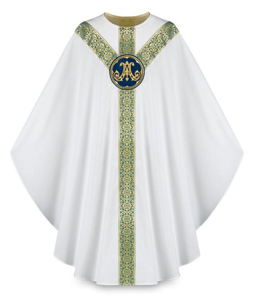 #3643 Marian Emblem Gothic Chasuble | Plain Neck | 100% Wool