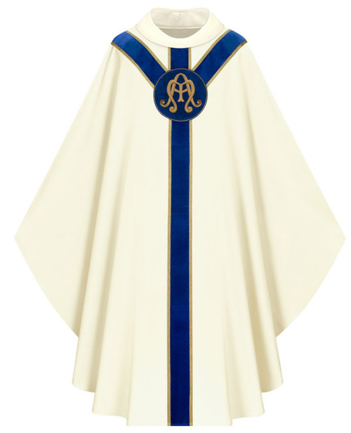 #5182 Hand Embroidered Marian Chasuble with Velvet Banding | Roll Collar | Poly/Viscose