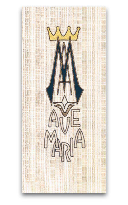 #4489 Embroidered Ave Maria Marian Lectern/Ambo Cover | Poly/Viscose/Flax