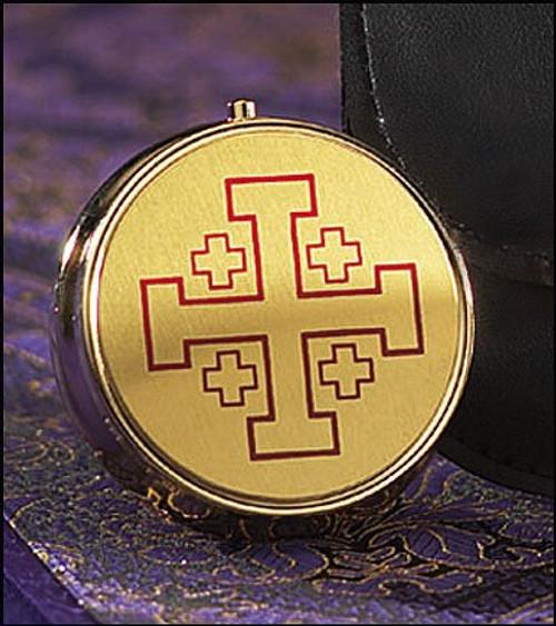Jerusalem Cross Pyx | Brass | Holds 7 Hosts