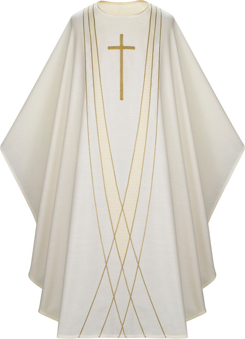 #5168 Embroidered Gold Cross Chasuble | Plain Collar | Poly/Viscose