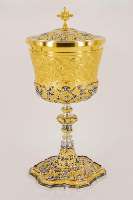 #616 Ornate Gold & Silver Covered Ciboria | Holds 250 Hosts | Sterling & Gold Two-Tone | Handmade in Italy