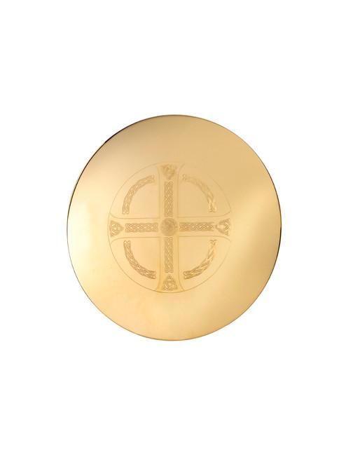 "5-1/2"" Engraved Celtic Maltese Cross Scale Paten | High Polish 24K Gold Plated"