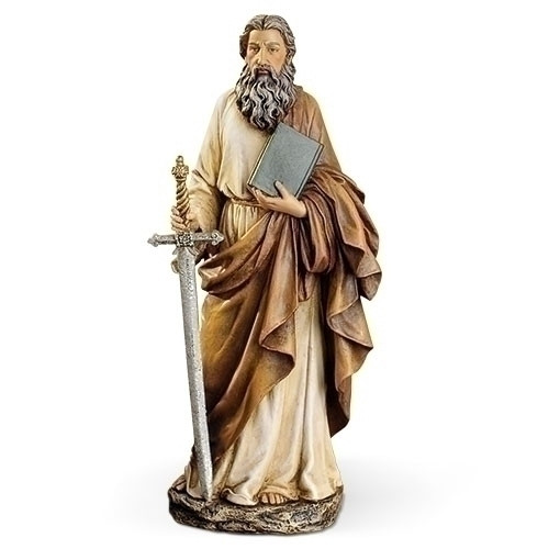 """10.5"""" St. Paul with Book & Sword Statue 