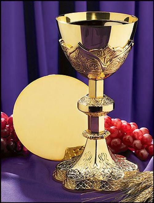 "Vine Embossed Chalice and Paten Set | 9 3/4"", 12oz. | Brass"