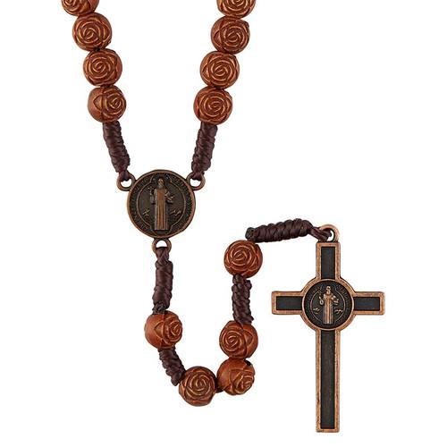 Rose Bead Saint Benedict Rosary