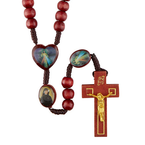 Divine Mercy Rosary with Wood Crucifix