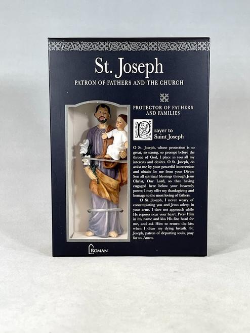 "4"" Saint Joseph Figure & Prayer Card | Gift Boxed | Patrons & Protectors"