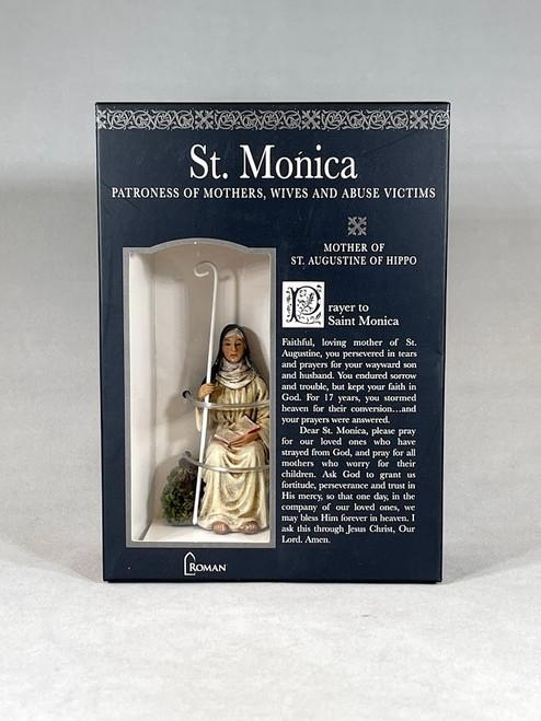 "3.25"" Saint Monica Figure & Prayer Card   Gift Boxed   Patrons & Protectors"