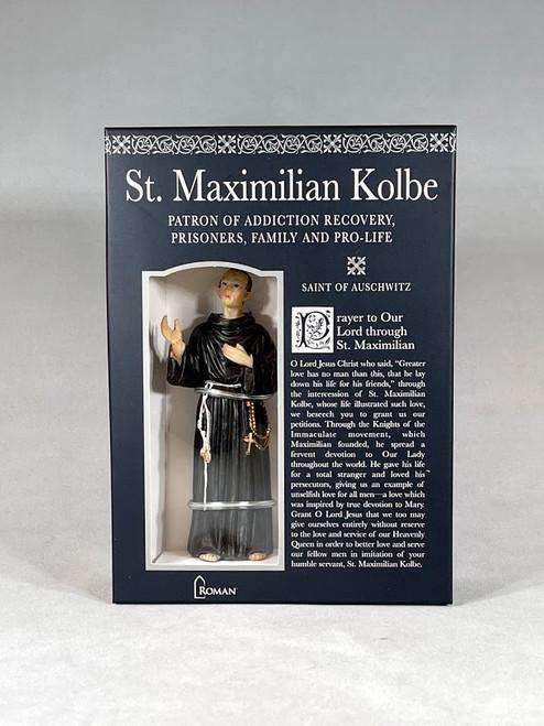 "4"" Saint Maximilian Kolbe Figure & Prayer Card   Gift Boxed   Patrons & Protectors"
