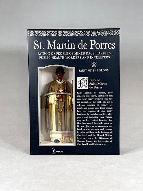 "4"" Saint Martin de Porres Figure & Prayer Card   Gift Boxed   Patrons & Protectors"