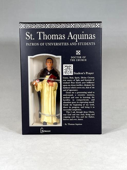 """4"""" Saint Thomas Aquinas Figure & Prayer Card   Gift Boxed   Patrons & Protectors"""