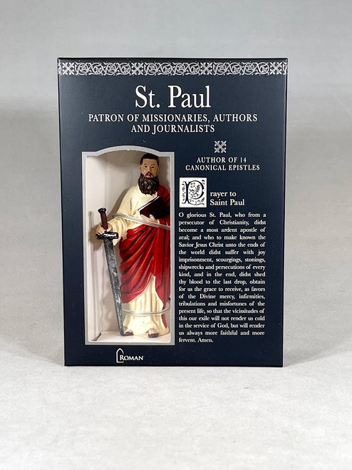"4"" Saint Paul Figure & Prayer Card | Gift Boxed | Patrons & Protectors"