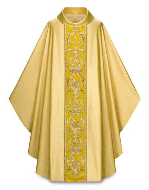 #3915 Ornate Hand-Embroidered Gothic Chasuble | Roll Collar | 100% Trevira