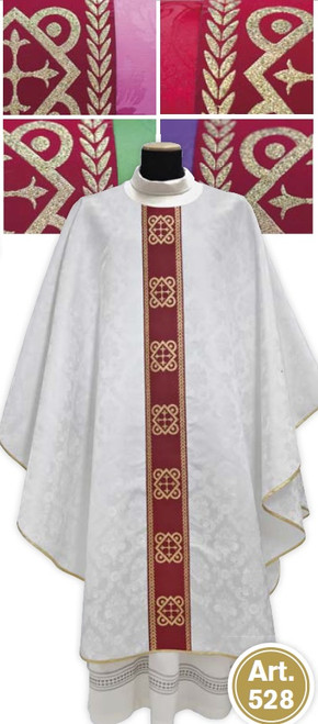 #528 Banded Chasuble | Plain Collar | 100% Polyester Damask | All Colors
