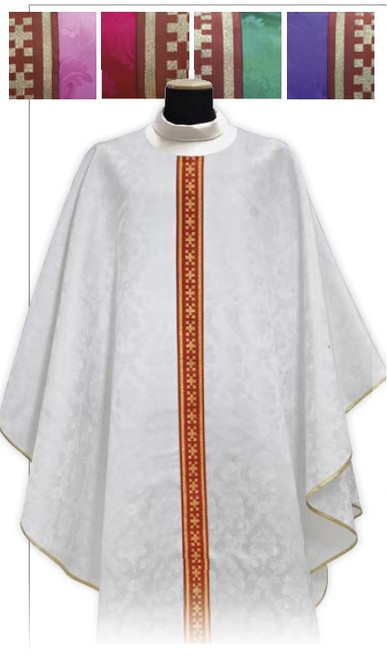 #540 Thin Banded Chasuble | Plain Collar | 100% Polyester Damask | All Colors