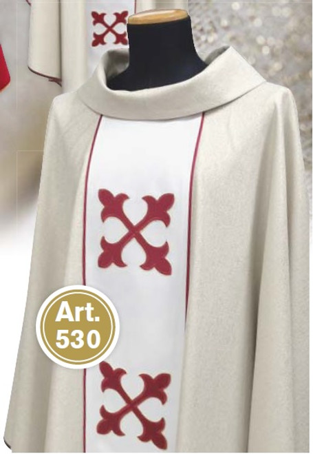 #530 Embroidered Cross Panel Chasuble | Roll Collar | Wool/Gold Thread
