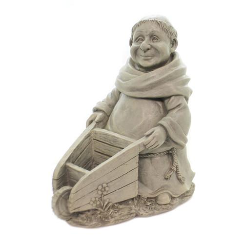 "11"" Monk with Wheelbarrow Garden Figure | Resin"
