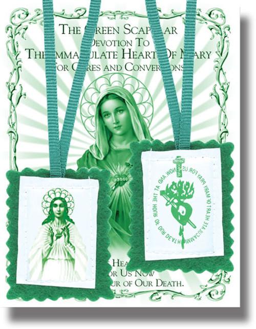 """2"""" Green Scapular & Instrution Booklet"""