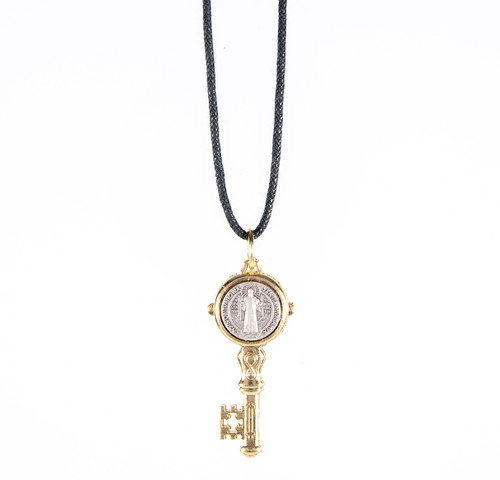 St. Benedict Gold Keychain Pendant on Cord