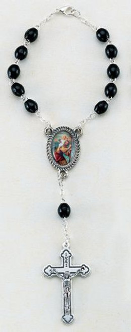 Saint Christopher Auto Rosary   Black Wood Beads