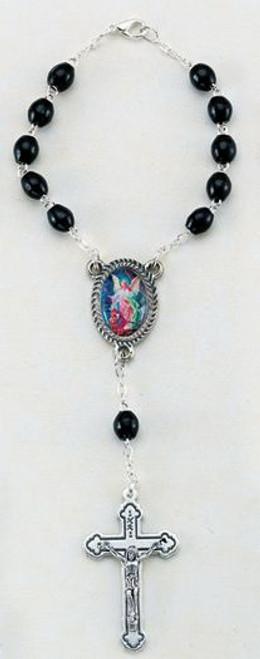 Guardian Angel Auto Rosary   Black Wood Beads