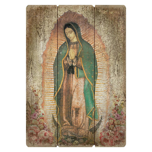 """Large 27"""" Our Lady of Guadalupe Wood Pallet Sign"""