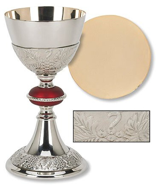 Red Node Chalice & Paten with Grape Pattern