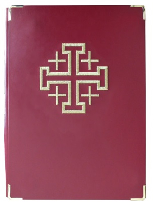 Stitched Jerusalem Cross Book of the Gospel Cover | Leather