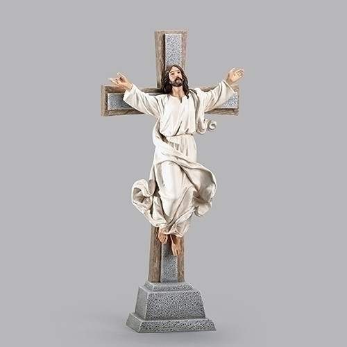 "15"" Risen Christ Crucifix Figure | Resin/Stone"