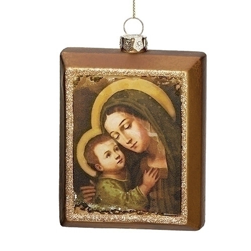"""4"""" Mary & Jesus """"Oil Painting"""" Ornament 