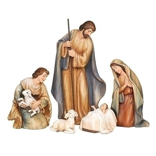 "10"" Nativity Set | 5 piece | ""Wood-Tone"" Finish | Resin"