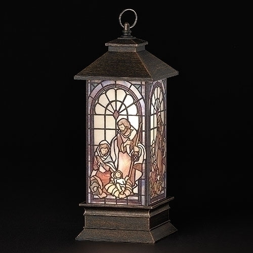 """11"""" LED Holy Family Lantern with Stained Glass Style"""