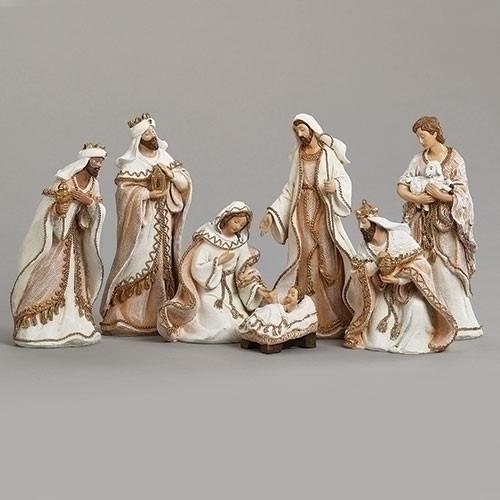 "8.5"" Gold Trim Nativity Set | 7 piece | ""Fabric"" Look | Resin"