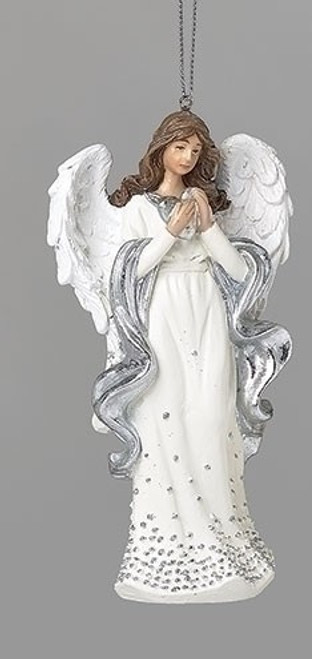 """5"""" Silver Dot Angel with Heart Ornament 