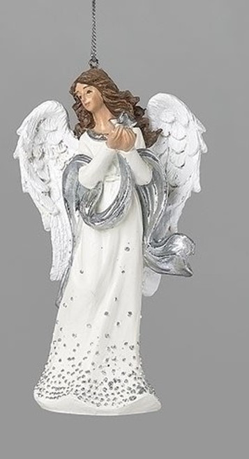 """5"""" Silver Dot Angel with Star Ornament 