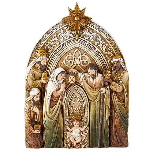 """12.5"""" Three Kings Nativity Plaque with Removable Baby Jesus 