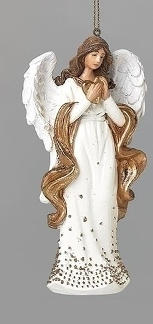 """5"""" Gold Dot Angel with Heart Ornament 