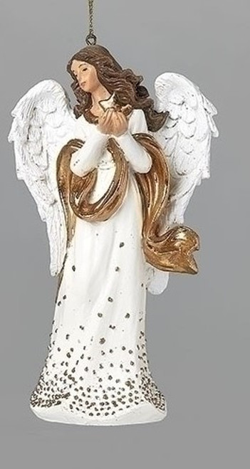 """5"""" Gold Dot Angel with Star Ornament 
