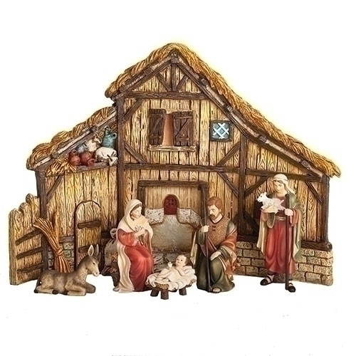 """12"""" Nativity Set with Stable 