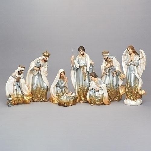 "14"" Gold Ombre Nativity Set | 8 piece | Resin"