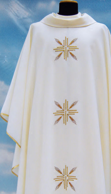 #404 Cross & Wheat Chasuble | Roll Collar | Wool/Poly | All Colors