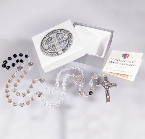 Saint Benedict Crystal Glass Bead Rosary | 5x6mm