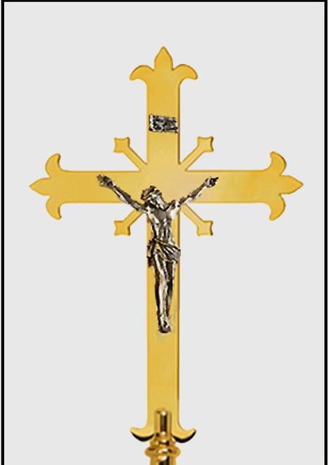 K113 Fleur-de-lis Design Processional Crucifix | Solid Polished Brass