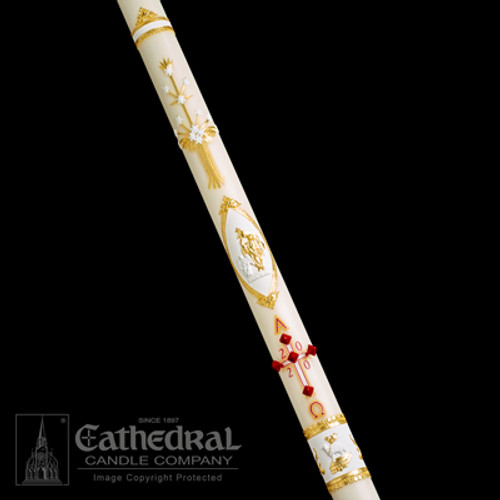 Ornamented Paschal Candle   51% Beeswax   All Sizes