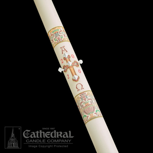 Investiture - Coronation Of Christ Paschal Candle | 51% Beeswax | All Sizes