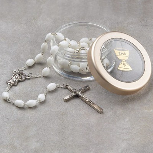First Communion Rosary with Box | Black or White