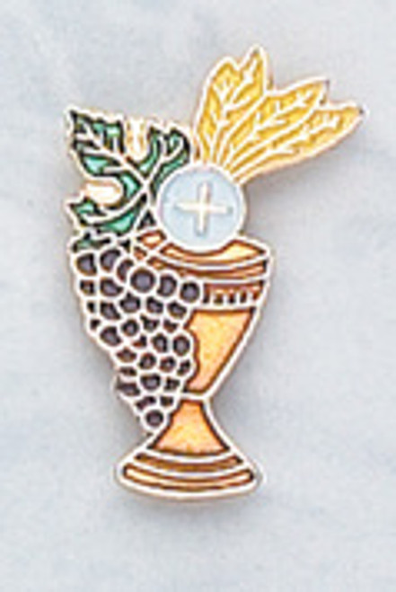 Enameled Chalice First Communion Pin